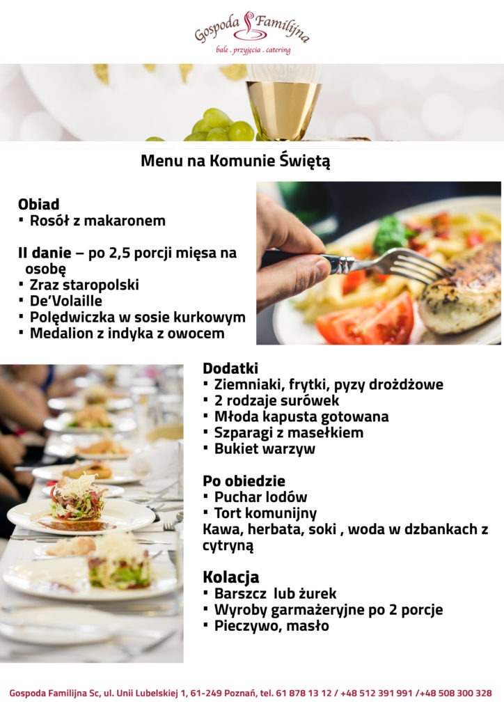 menu komunia poznań