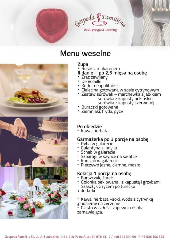 menu weselne poznań